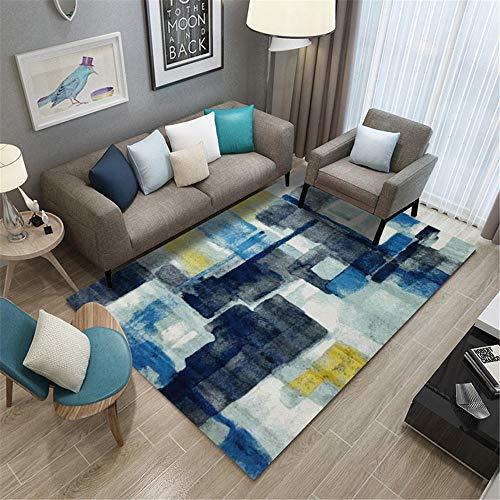 RUGMYW alfombras de habitacion pequeñas Patrón Abstracto Azul Gris Amarillo Verde Beige Alfombra Dormitorio Infantil 80X160cm