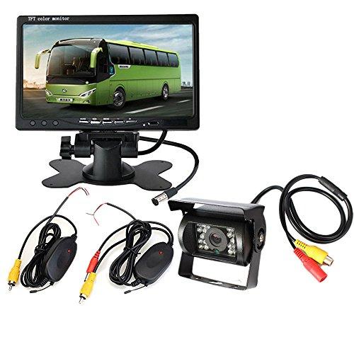 PolarLander Moniteur de Voiture 7 Pouces 12V / 24V pour caméra de Vision arrière Auto Monitor HD 800 * 480 Écran 2CH pour camions avec Station de stationnement sans Fil Inversé Inversé