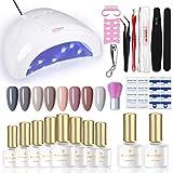 BORN PRETTY Juego de esmalte de uñas de gel con luz UV de 48 W, lámpara LED de 8 colores, no Wipe Base Top Coat, herramientas de manicura, kit de manicura integrado con luz Set 1