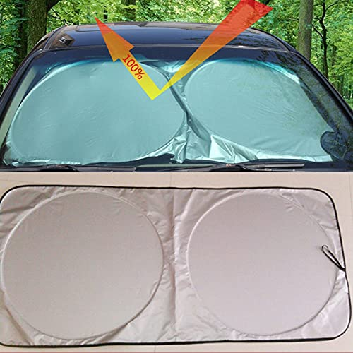 Plegable Sombrilla Resistir a Los Rayos UV,150*70 cm Parasoles de Coche Auto,Frontal...