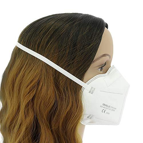 FFP3 Atemschutzmaske 10 Stück Packung DEVELLE Schutz Maske mit CE Zertifizierung und Kopfband - 7