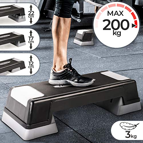 Physionics Aerobic Steppbrett - 3 Stufen (12, 17 und 22 cm) höhenverstellbar, Anti-Rutsch Gummibezug, max. 200kg - Fitness Stepper, Stepboard, Stepbank, Stepbench, Step Cardio Workout für Zuhause