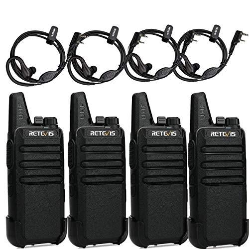 Retevis RT622 Walkie Talkie, Mini PMR446 Licencia Libre, 16 Canales CTCSS/DCS Radio Bidireccional, Escaneo Monitor VOX, Walkie Recargable con Auriculares para Viajar,Cámping(Negro, 2 Pares)
