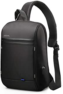 VGOAL Anti-Theft Sling Bag 13.3 inch Messenger Bag with USB Charging Port and RFID Pocket, Cross Body Daypack for Men and Women,Black