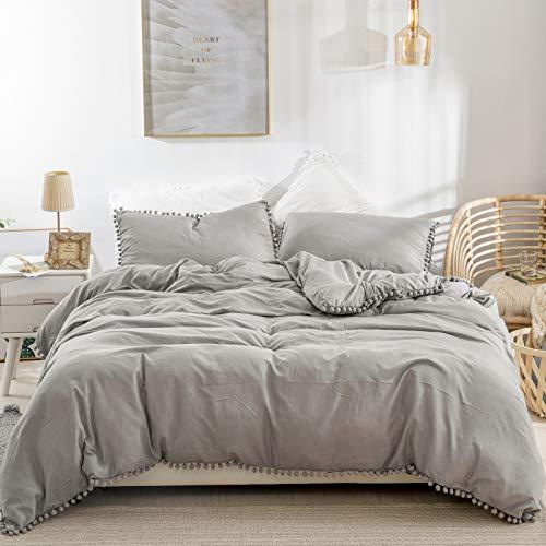 Grey Duvet Cover Double Size 3 Piece Pompoms Soft Microfiber Tassels Design Plain Colour Reversible Bedding Set
