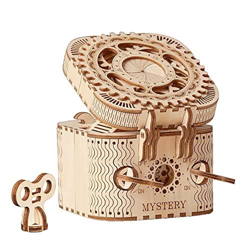 Robotime 3D Holzpuzzle Mechanische Modellbausätze Holz Puzzle Treasure Box Denksportaufgaben Knobelspiele für Kinder und Erwachsene Spielzeug Kreatives Geschenk