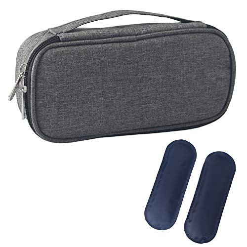 DCCN Insulin Kühltasche Diabetiker Tasche für Medikamente Thermotasche aus Oxford-Stoff und Alufolien (S Grau mit Tragegriff + 2 Kühlakkus)