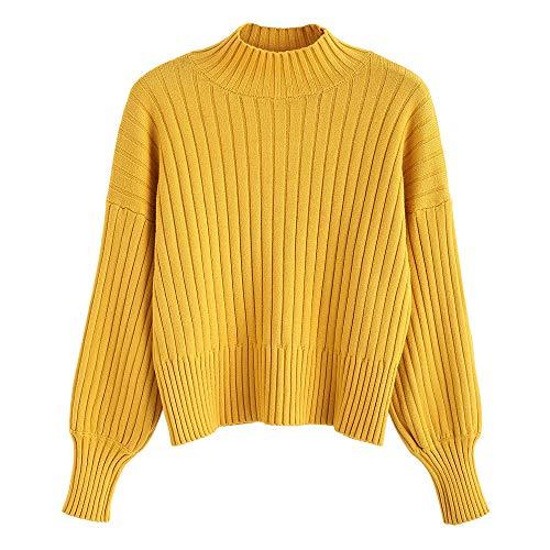 ZAFUL Damen Locker Rollkragenpullover Langarm Sweater Pulli Lose Bluse Pullover Tops(Senf)
