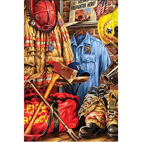 DIY Pintura por Nmeros para Adultos, Pintura al leo sobre Lienzo Pintar por Numeros para Adultos Principiantes - Navidad Regalo -Hacha de disfraz de bombero -50x60cm