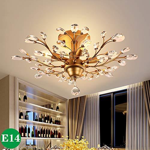 Vintage Kristall Deckenleuchte Lampe Retro Industrie Landhaus Leuchte, Rustikale Deckenlampe Florentiner Astleuchte, Blumenform klassisch Kristall klar Chic-Stil, Wohnzimmer Schlafzimmer Decke Leuchte
