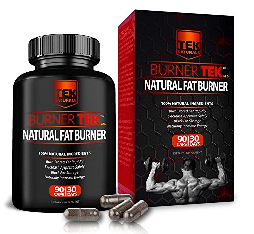 BurnerTEK Natural #1 Rated Fat Burner - 12 Fat Burning Ingredients, 90 Pills, 30 Day Supply - Lose Weight, Energy & Stamina
