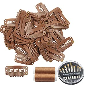 50pcs Wig Clips 32mm Snap Clips for Hair Extension 6-teeth Light Brown Color Hair Extensions Clip with Thread and Needles (Light Brown -50pcs)