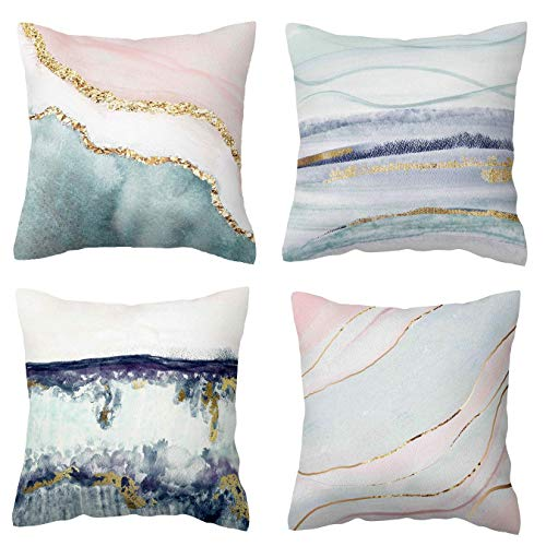 BLUETTEK Printed Watercolor Beach & Ocean Inspired Decorative Pillow Covers, Soft Velvet Accent Cushion Cases 45cm x 45cm (Blush & Mint Waves)