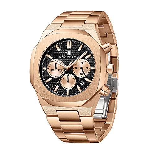 Reloj para Hombre SAPPHERO, Reloj de Acero para Hombre con Movimiento de Cuarzo Informal de Negocios, Reloj de Acero 3ATM, cronógrafo Resistente al Agua, Lujo, clásico