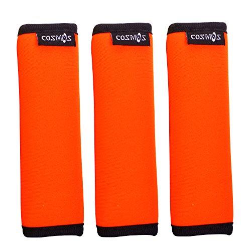 Cosmos 3 PCS Comfort Neoprene Handle Wraps/Grip/Identifier for Travel Bag Luggage Suitcase (Fluorescent orange)