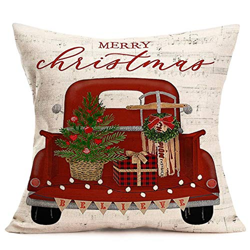"""Fukeen MerryChristmas Cotton Linen Throw Pillow Cover Vintage Farm Truck Car Carrying Xmas Trees Gifts Holiday Country Farmhouse Decorative Pillow Cases Believe Quote Cushion Cover 18""""x18"""", Red"""
