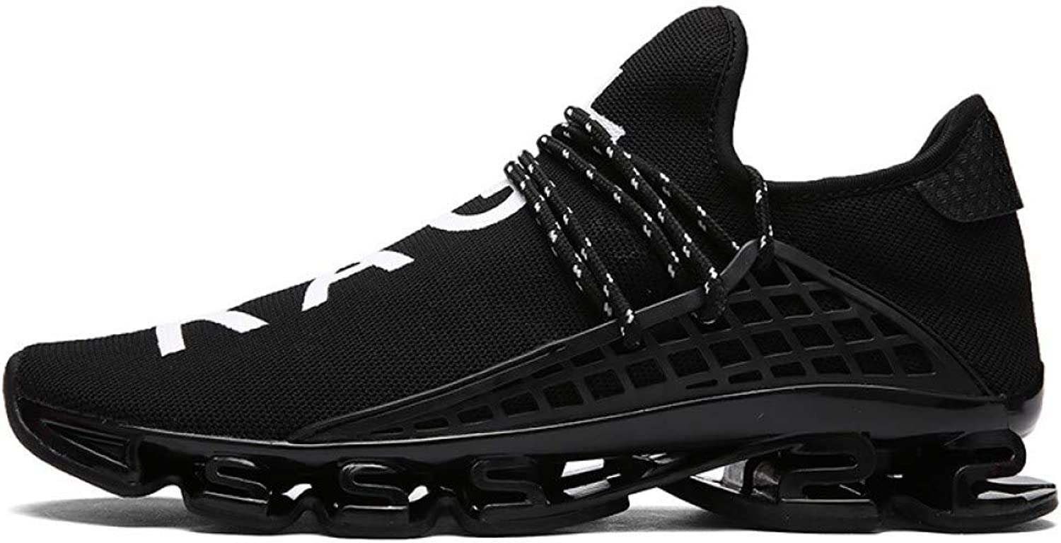 Hasag Sneakers Couple Running shoes Breathable Female Jogging shoes Men's shoes,V Black,44
