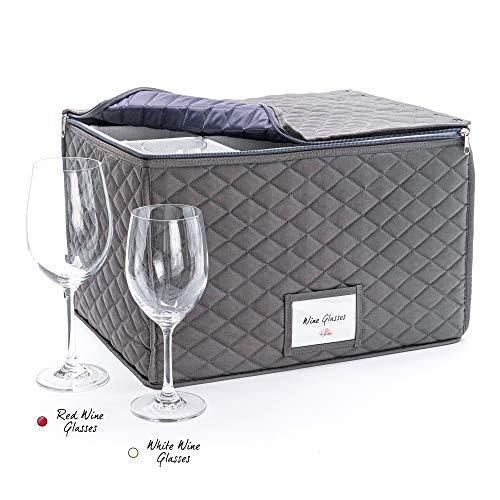 Bulb & Shade Wine Glass Storage Case - Protective Container Box for Stemware - Holds up to 12 Wine Glasses - Great Wedding or Engagement Gift