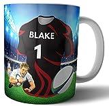 Cadeau personnalisé – Tasse à thé – Thème maillot de rugby – Saracens