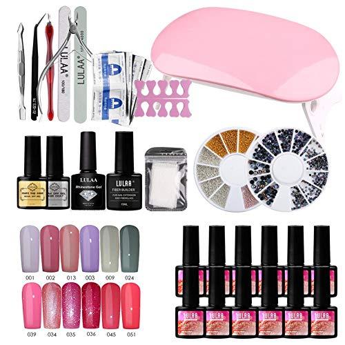 Sue-Supply Set de Esmalte de uñas de Gel 12pcs Kit de Esmalte de uñas Permanente UV + Lámpara LED 36W Gel de Horno de Arte de uñas UV para Kit de manicura Completo
