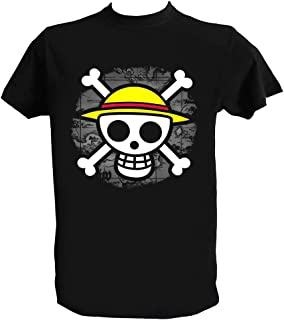 Camiseta One Piece Hombre Niño Negra Luffy Trafalgar Law Anime Manga