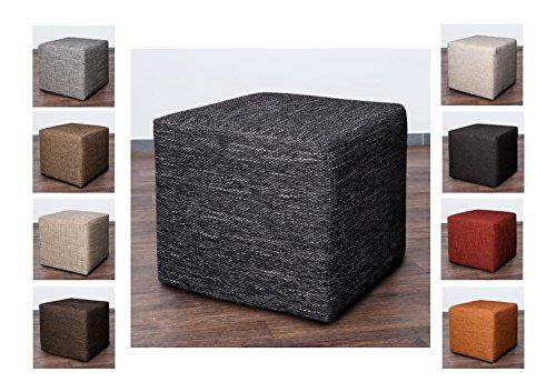 Möbelbär 8009 Sitzwürfel Hocker Cube mit Kunststoffgleiter Fuß 45 x 45 x 45 cm, bezogen mit robustem hochwertigem Magma Struktur Webstoff (Schwarz)