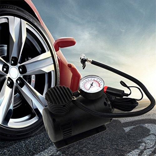 KinshopS Pompa Portatile di Infaltor della Gomma del compressore d'Aria dell'automobile del Portatile 12V Nero 300 PSI