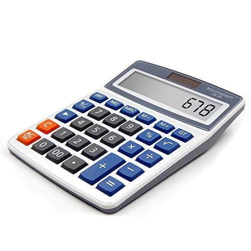 OFFIDIX Desk Calculators,Standard Function Office Desktop Calculator,Solar and Battery Dual Power Electronic Calculator Portable 12 Digit Large LCD Display Calculator Handheld Calculator (Light Blue)