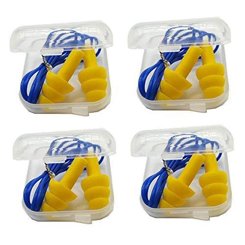 Lezed Tapones de Oídos con Cuerda Tapones de Orejas de Silicona Reutilizable Tapones de Ruido de Dormir para Protección de Oídos Tapones para Los Oídos para Dormir Diseñados 4 pares Con caja