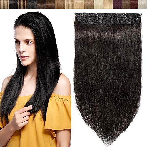 Extension Capelli Veri Clip Fascia Unica 100% Human Hair Neri Clip Extension 3/4 Full Head One Piece con 5 Clips - #1B Nero Naturale 40cm 45g