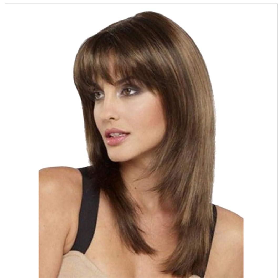 リファインドラッグ近似ショートストレートウィッグ人工毛ウィッグロングストレートレイヤード耐熱人工毛ウィッグ、ライトブラウン