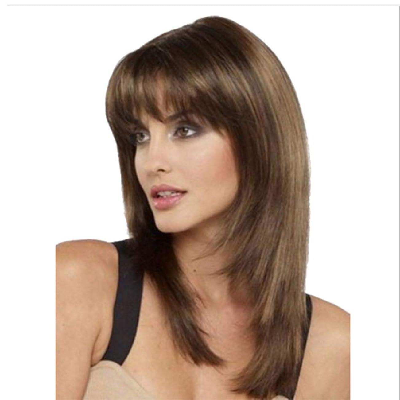 ましいシガレット芸術ショートストレートウィッグ人工毛ウィッグロングストレートレイヤード耐熱人工毛ウィッグ、ライトブラウン