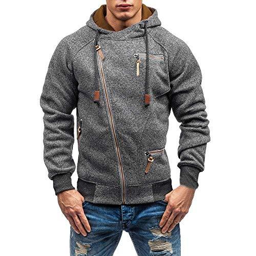 Mens Pullover Hoodies Tops met Pocket Casual Side Full Zip Warm Hoody Jacket Coat Top Blouse Sale (Color : Black, Size : 3XL)