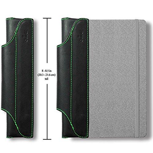 クイヴァ—Quiver 1本差しペンホルダー モレスキンハードカバー用(A5)黒革 グリーンステッチ