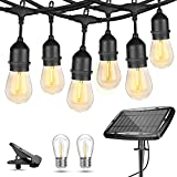WENFENG 48ft Waterproof Solar String Lights for Patio -USB Powered Outdoor String Lights- with 15+2 Commercial Grade Shatterproof Vintage Led Edison Bulbs -Backyard Ambiance Lighting -Warm White