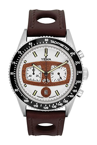 Armbanduhr Herren–Yema–RALLYGRAF–Armband Leder braun perforiert–42mm–10bar–ymhf1485
