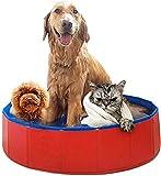 Perro piscina portátil for animales domésticos, perro robusto piscina plegable de baño de hidromasaje antideslizante durable Perros Palmetazos bañar Piscina Bañera en jardín Patio Cuarto de baño plega