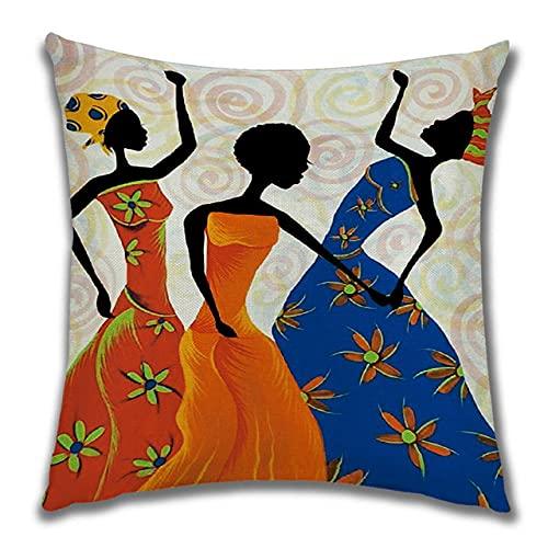 Fundas de Cojines 40x40cm,Funda de Cojín Cojines Decorativos,Funda de Cojine CuadradoTerciopelo con Cremallera Invisible,para Sofá,Cama Hogar,Coche,Interior, Mujer Africana Abstracta (16x16in)