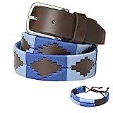 PELPE Cintura Argentina di polo Light Blu - ricamata in pelle - Uomo - Donna - Unisex - Con scatola regalo