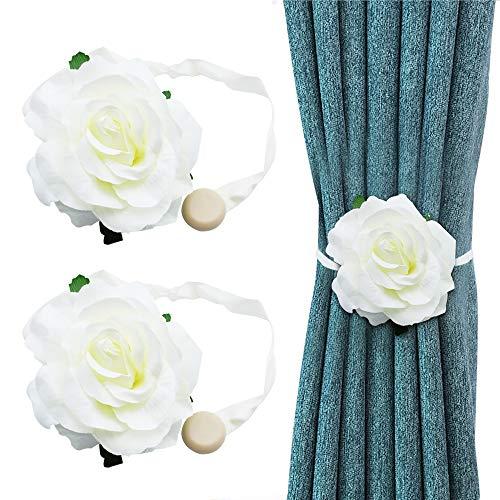 2 Stück Vorhang Raffhalter clips Seil vorhang Magnetisch Zurückbindenfür Holdbacks für Verdunkelungsvorhänge und Vorhänge Rose weiß