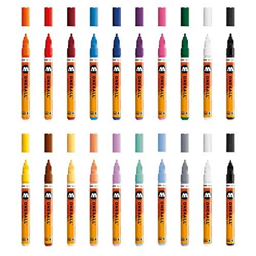 Molotow One4All 127HS Acryl Marker (Main-Kit 1, 2 mm Spitze, hochdeckend und permanent, UV-beständig, für fast alle Untergründe) 20 Stück sortiert