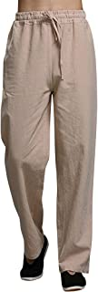 Mens Linen Pants Beach Casual Loose Fit Work Elastic Waist Drawstring Golf Cargo Trousers with Pockets