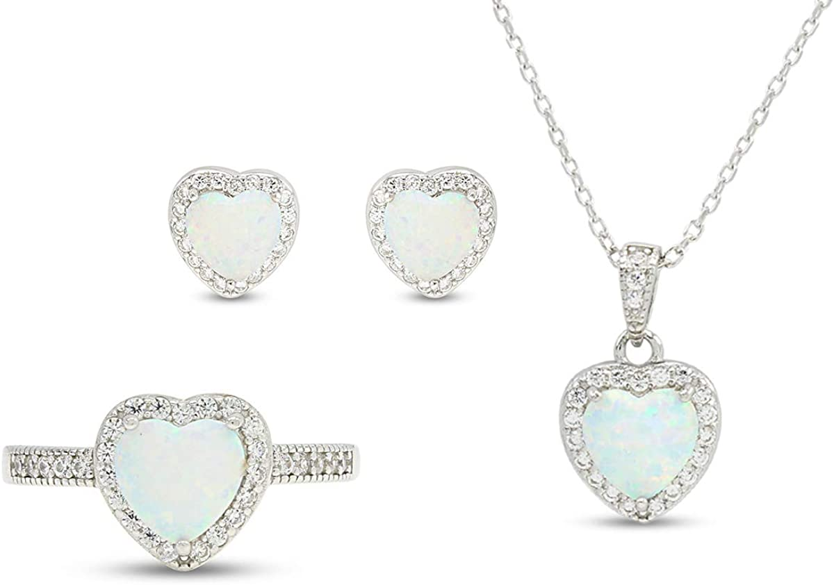 AFFY online shop Sterling Silver Simulated Heart Je Shipping included Cubic Opal Zirconia Fire