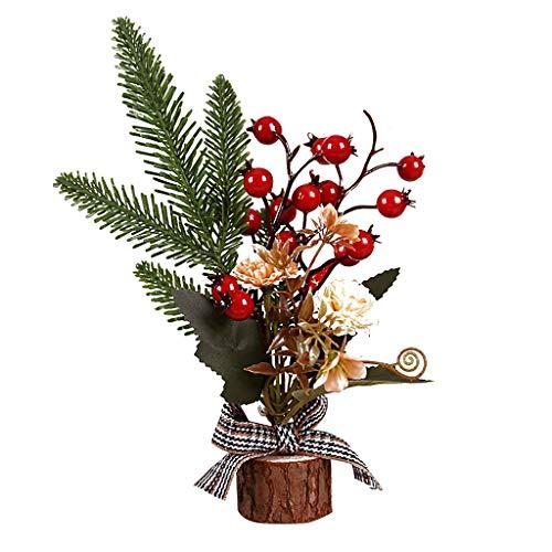 aliveGOT Artificial Tabletop Christmas Tree, Mini Miniature Xmas Decor Tree Perfect Decor for Christmas Day, Wooden Base (B)
