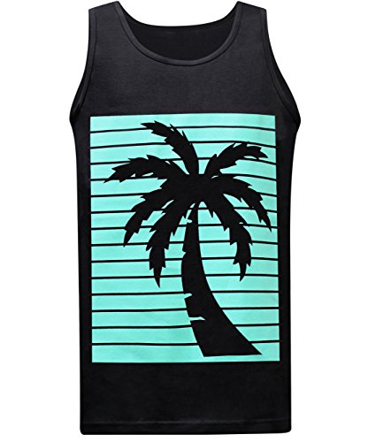 California Republic Turquoise Palm Men's Muscle Tee Tank Top - (Large) - Black