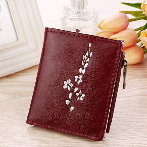 Yeucan Frauen Short Casual Wallet Öl gedruckte Pflaumen-Mappen-Karten-Kasten-Münzen-Änderungs-Beutel, Rotwein