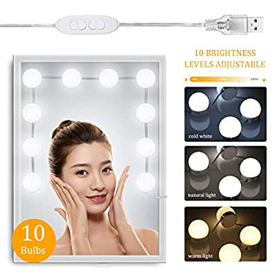 Vanity Lights for Mirror, Tomshine Hollywood Style Vanity Mirror Lights Kits with 3 Color Modes 10 Dimmable Bulbs for Dressing Room Bath Room