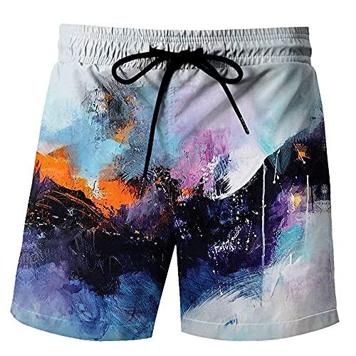 MLX-BUMU Color Printing Pantalones Cortos De Verano para Hombre Pantalones Cortos Informales De Hip Hop con Estampado 3D para Hombre Pantalones Cortos De Playa,XXXL