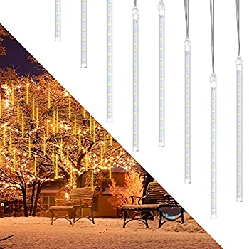 Rain Lights Meteor Lights econoLED LED Meteor Shower 192 LEDs 8 Tubes,Outdoor Waterproof Drop Icicle Snow Falling Raindrop Cascading String Lights for Party Wedding Christmas Decoration Warm White