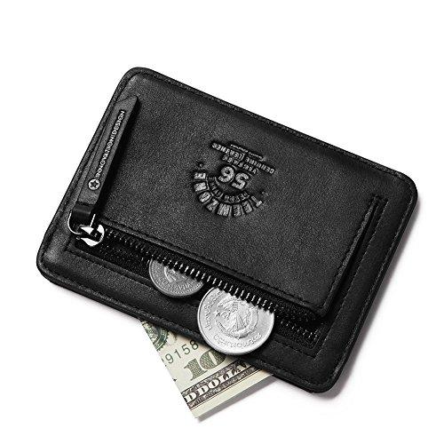 Teemzone Monedero Tarjetero de Piel Hombre Pequeño Cartera de Cremallera Monedas Bolsillo (Negro)